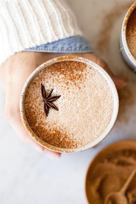 frothy chai hot chocolate with milk chocolate ganache