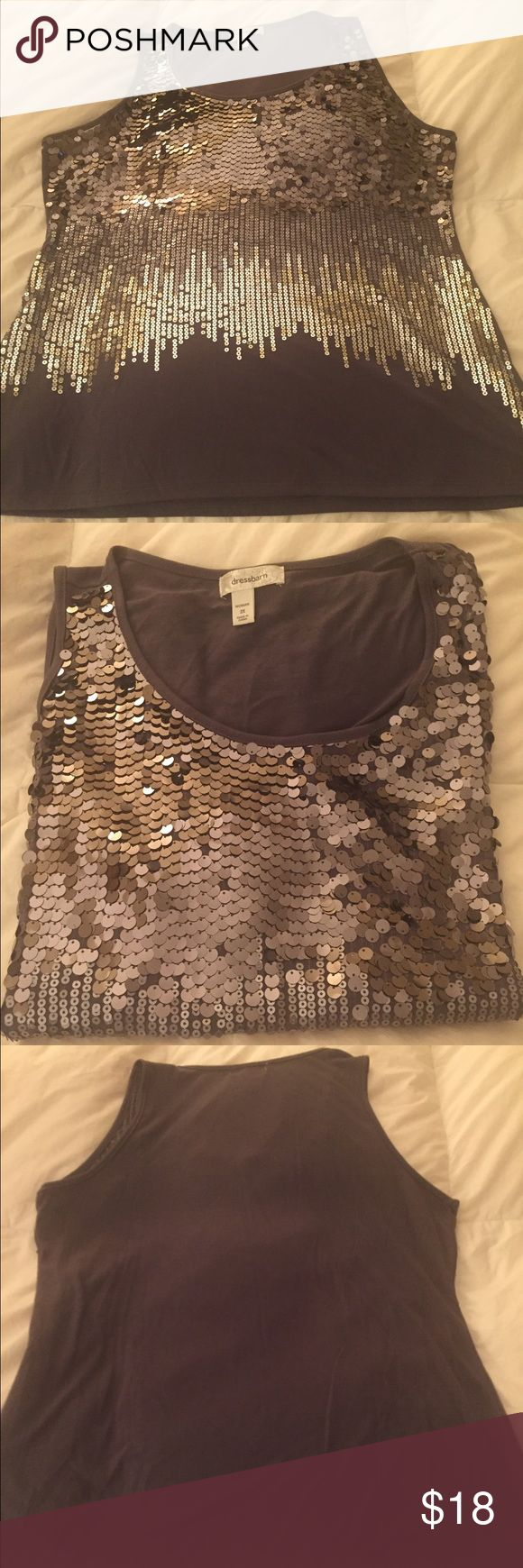 Beautiful Sequins Tank Top Beautiful Sequins dressy tank top from Dress Barn.  Grayish in color-Size 2X Woman. Great for New Years Eve!😃 Price negotiable. Make an offer! Dress Barn Tops Tank Tops