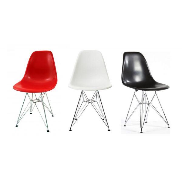 Sedie scrivania - DSR Eiffel chair Eames sedia in polipropilene e acciaio cromato. Sedie moderne casa, cucina, soggiorno, ufficio, sala d'attesa, sala conferenze,  bar, ristorante, pub, pizzeria, gelateria, pasticceria, negozio, albergo, discoteca al miglior rapporto prezzo - qualità.