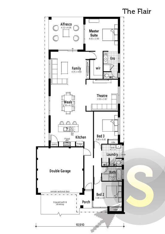 39 the flair 39 floorplan 12m frontage 3x2 alfresco for 10m frontage home designs perth
