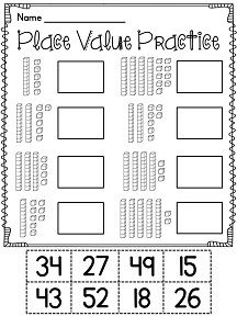 Place value cut and paste worksheets