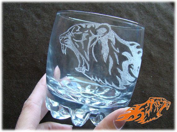 Verre 8 onzes Tigre Félin Feu Tatouage par ValniDesignsJewelry