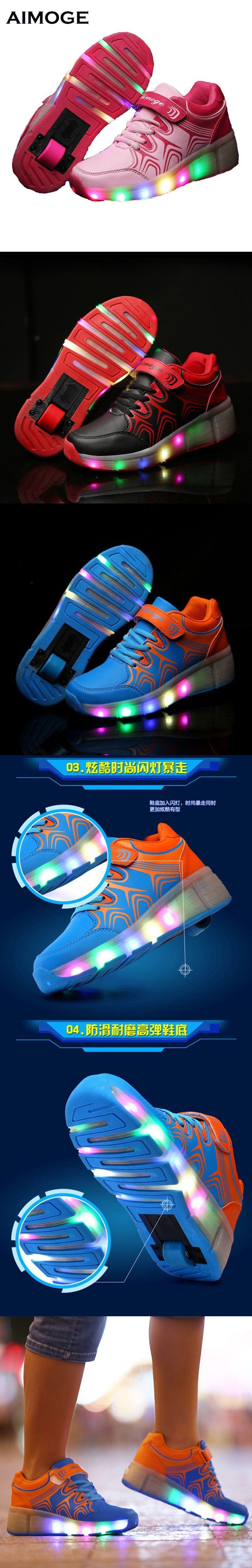 Summer Child LED Light up WHEELYS Roller Skate Shoes For Girls Children Kids Boy Led Sneakers With Wheels tenis infantil $19.98