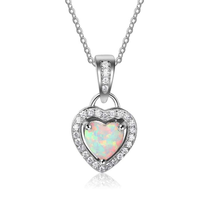 Post Included Aus Wide and to most international countries! >>> Opal Heart Locket Necklace - 925 Sterling Silver