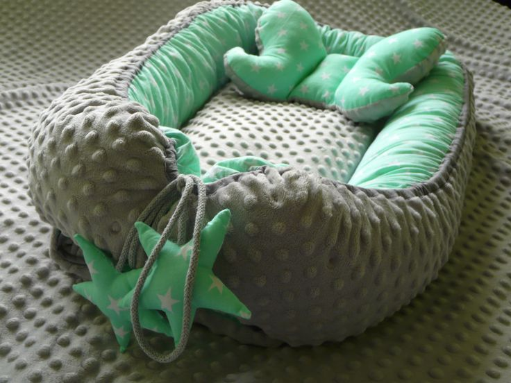 Minky and cotton baby nest with  elephant-ears pillow