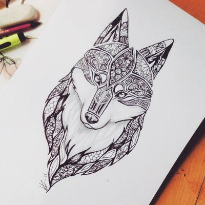 Wolf mandala tattoo by MineaAmanda
