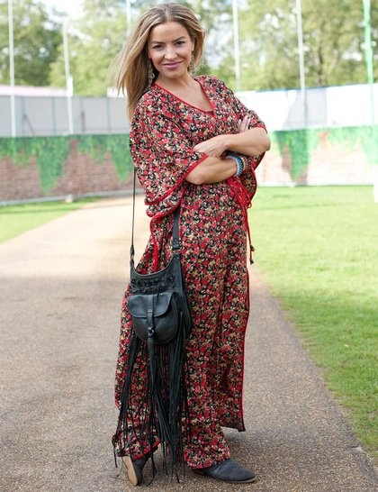Printed maxi dress and fringed bag at Wireless Festival 2012