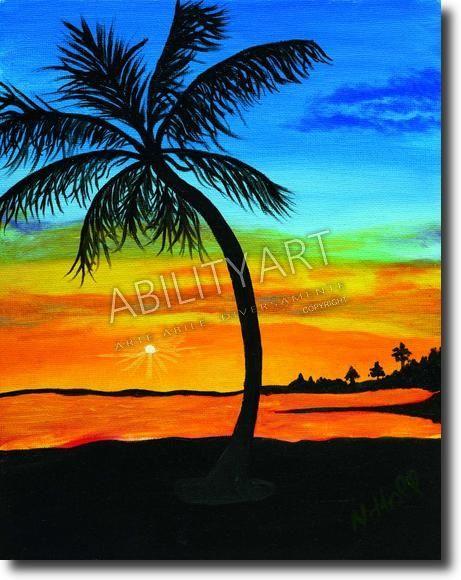"""Nancy Hall è originaria degli USA. Ha creato l'opera """"Palma sulla spiaggia al tramonto"""", dipinta con l'utilizzo esclusivo della bocca. La tecnica utilizzata è quella a olio; il formato originale è 26x21 cm."""