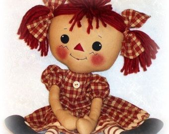Rag Doll PATTERN, PDF PATTERN, Cloth Doll, Ragdoll, Raggedy Ann, Sewing,, Instant Download, Digital Download