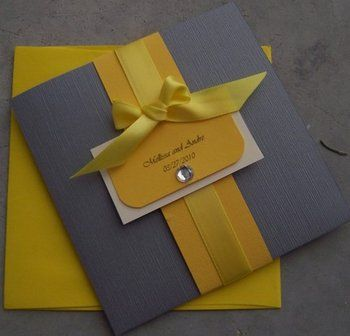 Yellow and Grey Wedding Invitations- adding a color band and ribbon can customize any basic inexpensive invitation