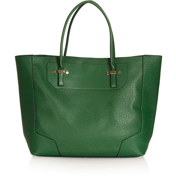 TOPSHOP Saffiano Tote Bag ($70) ❤ liked on Polyvore featuring bags, handbags, tote bags, purses, green, topshop, tote handbags, man bag, studded handbags and tote purse