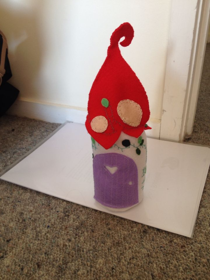Toadstool roof fairy house, hutch, felt, decor for boutique children's rooms  Https://www.etsy.com/shop/StickandOopel
