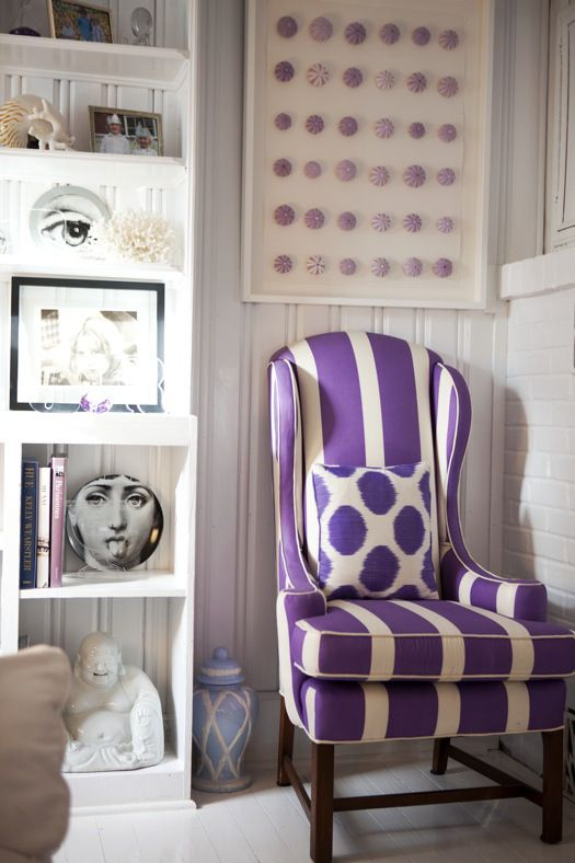 love the purple chair (personally, would use different cushion) and the sea urchin art work