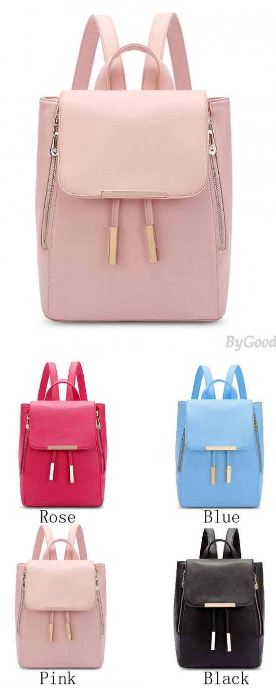 Which color do you like? Elegant Pink Funky Lady Solid Simple Square PU Drawstring Hasp Satchel Backpack #backpack #college #school #Bag #cute #girl #student