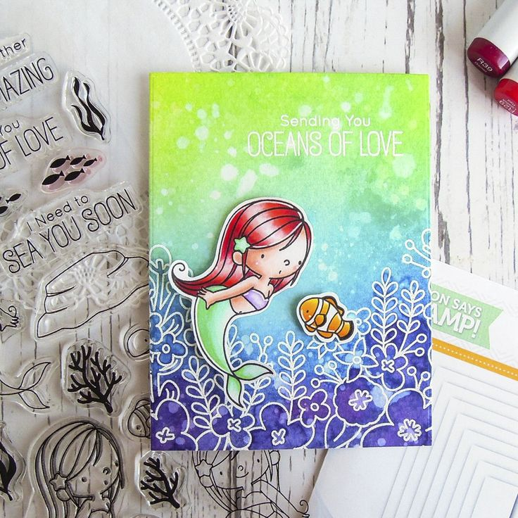 Hi friends! As you can see, I'm addicted to cardmaking again! I want to share my mermaid card with you today. My inspiration comes from the Avery Elle Canopy Stamp Set. I have used this stamp…