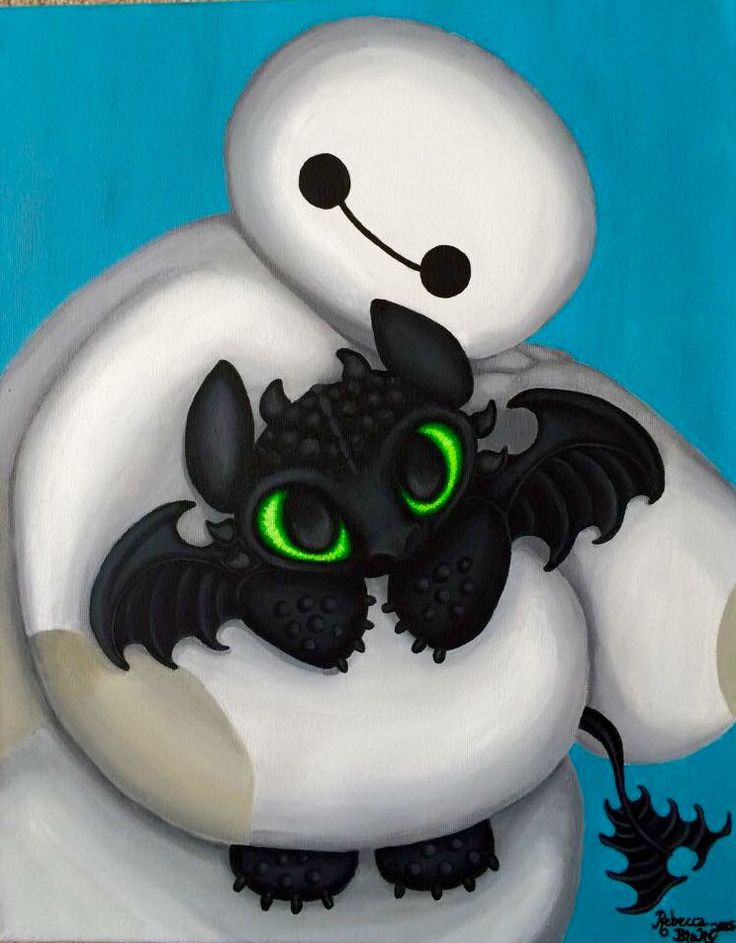 Baymax and Toothless  By Rebecca Blake  Acrylic painting I made for my daughter. Baymax from Disneys Big Hero 6, and Toothless from How to Train Your Dragon.