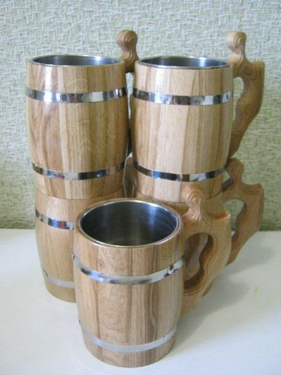 5 Wooden Beer mugs 0,8 l (27oz) , natural wood, stainless steel inside,groomsmen gift