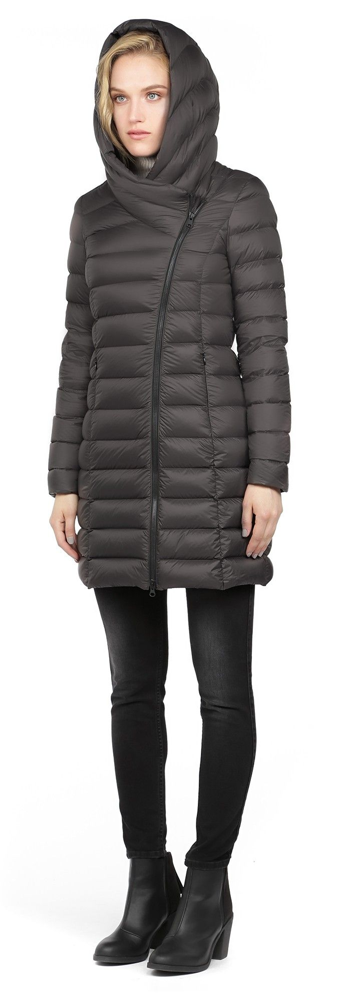 SOIA & KYO KARELLE TRUFFLE LIGHT DOWN COAT