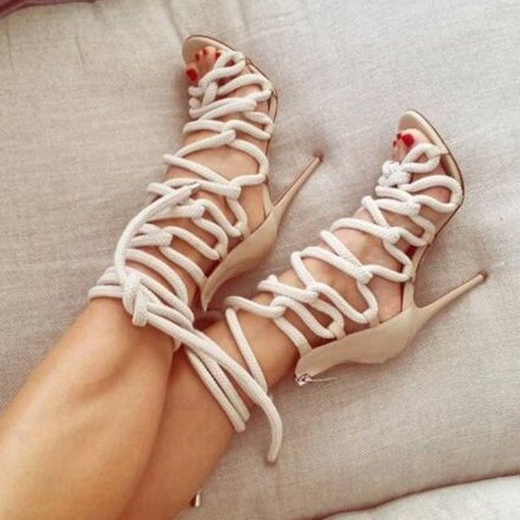 Pas cher 2017 Nouveau Style Gladiateur Sandales Femmes Chaussures Talons hauts Dentelle jusqu'à la Cheville Bottes Peep Toe Zapatos Mujer Hot Sapato Feminino Sandalias, Acheter  Femmes de Sandales de qualité directement des fournisseurs de Chine:staU