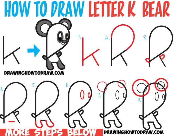4 Letter Cartoon Characters : Best drawing with letters numbers and words for kids