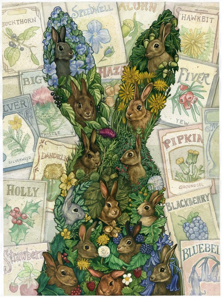 This is a beautiful piece of fanart for Watership Down. I have trouble expressing how much I like this  - especially with the characters names on the seed packets and them surrounded by their namesake plants. I love Watership Down. I would highly recommend it to animal-lovers :)