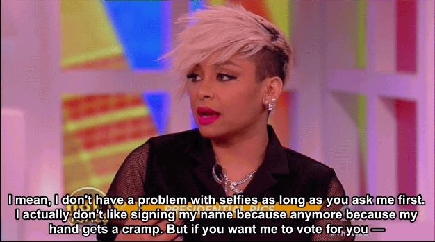 """Yesterday on The View the ladies were talking about presidential candidates taking selfies with people… 