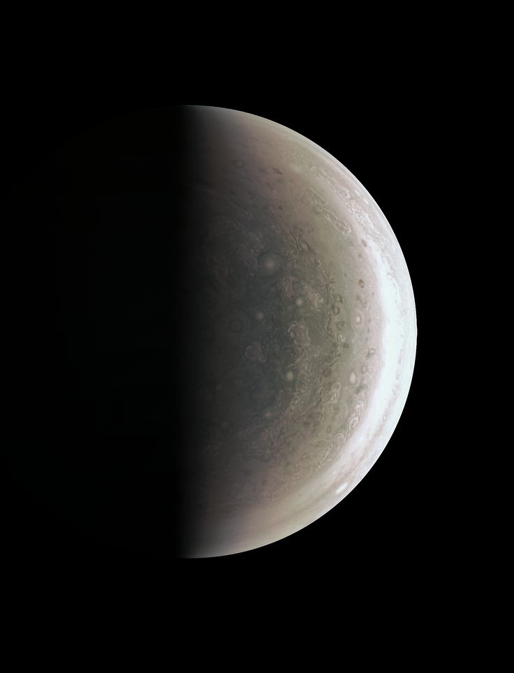 Jupiter Down Under This image from NASA's Juno spacecraft provides a never-before-seen perspective on Jupiter's south pole.