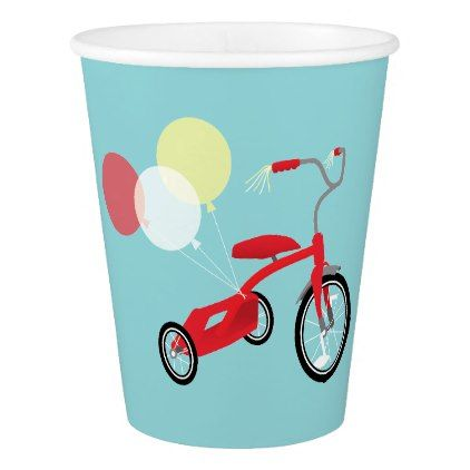 Red Tricycle Graphic Paper Cup - toddler youngster infant child kid gift idea design diy