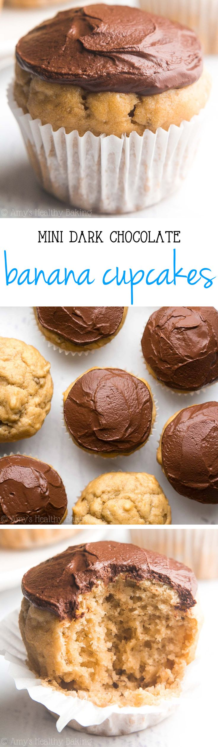 Mini Dark Chocolate Banana Cupcakes - So easy, so tender, so good! Even better, they're 100% healthy and just 43 calories!