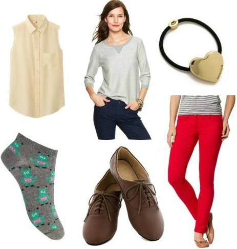 Lab outfit idea blouse sweatshirt colored skinnies oxfords