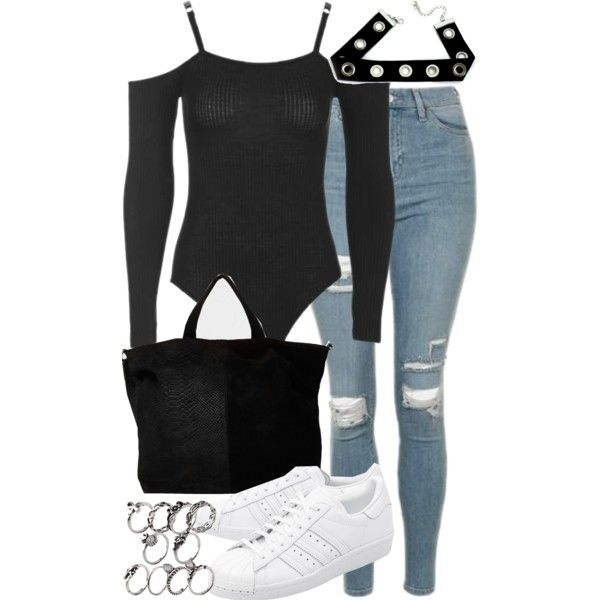 A fashion look from November 2016 featuring Topshop jeans, adidas Originals sneakers and River Island tote bags. Browse and shop related looks.