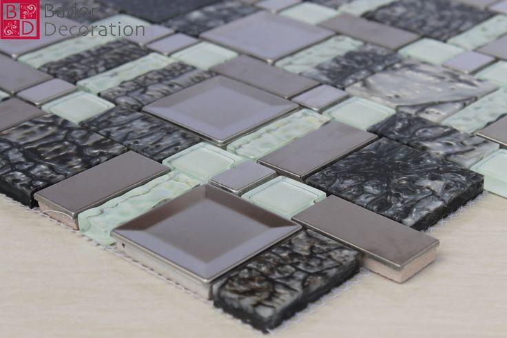 Mosaico Piastrelle Vetro di Marmo Acciaio inox 7,5 x 30cm