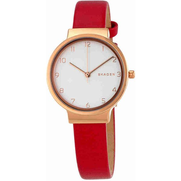 Skagen Ancher White Dial Red Leather Ladies Watch ($100) ❤ liked on Polyvore featuring jewelry, watches, water resistant watches, analog wrist watch, red dial watches, leather dress watch and leather crown