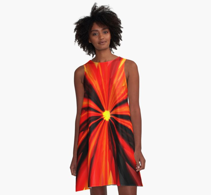 A-Line Dress graphic design by Eric Nagel. 100% Polyester woven dress fabric with silky handfeel. Print covers entire front and back panel. Loose swing shape for an easy, flowy fit. Sublimation transfer technique prints crisp, bold colours. Garment fully constructed and printed in the USA. #Fashion #styling #clothes #shopping #Dress #A-Line #girl #summer #outfits #casual #colourful