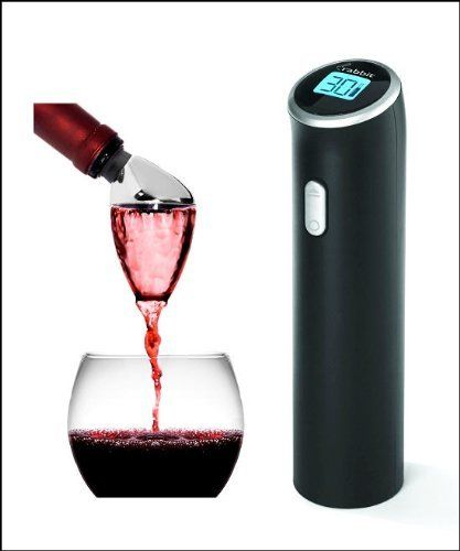 Electric Rabbit Black Wine Opener Corkscrew with Aereating Wine Pourer by Metrokane. $69.99. Wine swirls through aerator before it reaches the glass, improving flavor and bouquet; no need to wait for wine to breathe. Separates for easy cleaning; hand wash; storage case included  #  Measures 2.5 by 2.2 by 7.6 inches. Gift Set -Includes Both the Electric Rabbit and the Aereating Wine Pourer. # Lock on bottle; hold bottle with other hand and press bottom button until the opene...