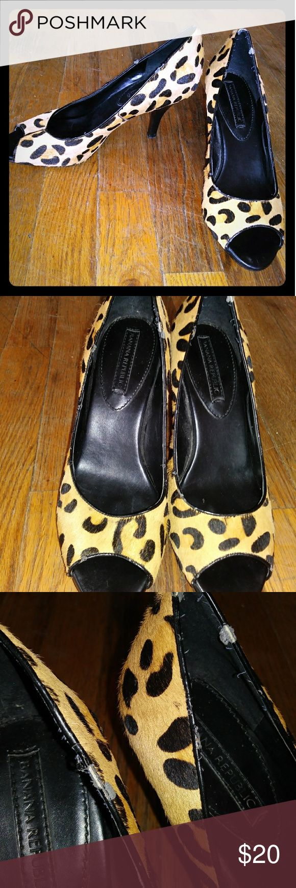 """Pony hair cheetah heels by Banana Republic Loved but beautiful with a lot of life left. Flaw is the leather wear around rims of back of need but can't see when wearing. About 3"""" heel. Extremely comfy! #cheetah #leopard #banana republic #gap #j.crew #j. Crew Banana Republic Shoes Heels"""