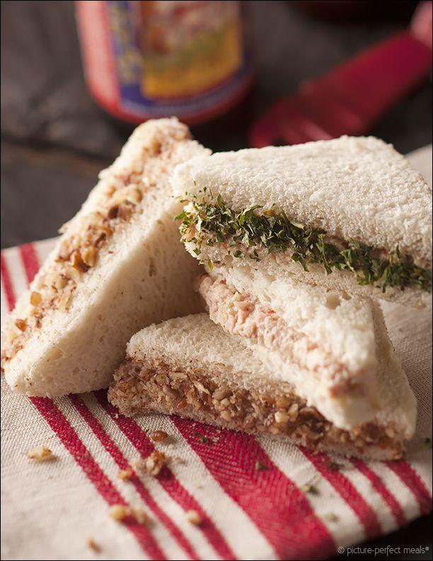 Deviled Ham, Pineapple and Pecan Tea Sandwiches