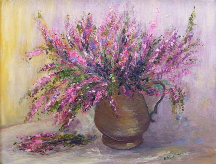 Wrzosy - olej - Maria Roszkowska