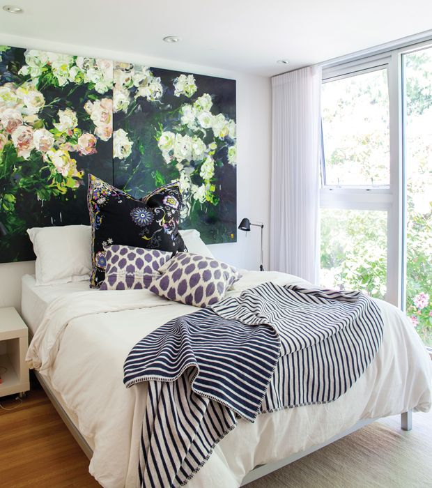 Floral art to add color above bed