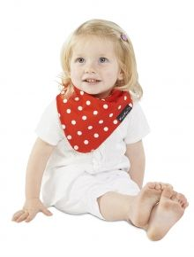 """Red Dots"" Fashion Bandana Wonder Bib - only at Mum 2 Mum!  These are REVERSIBLE bandana bibs with 3 incredible layers to keep baby clean, dry and help protect both clothing and skin. Suitable for ages 4 months to 3 years."
