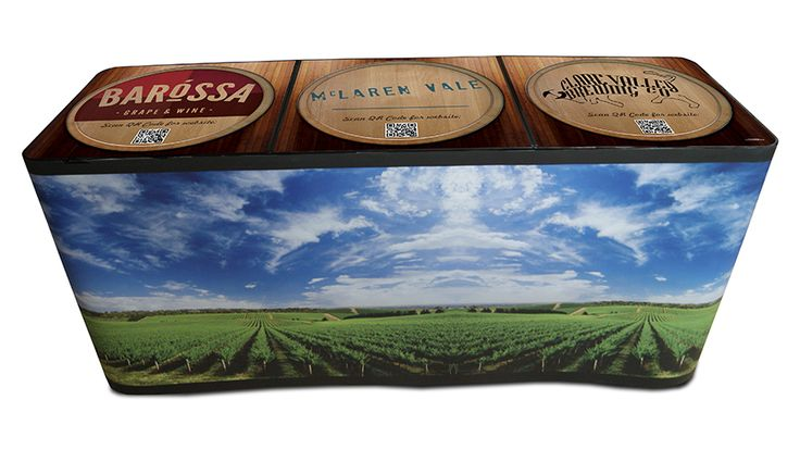 Full colour printed Vinyl Valance. Any design can be printed. Custom-printed table top with QR codes that lead straight to your website.