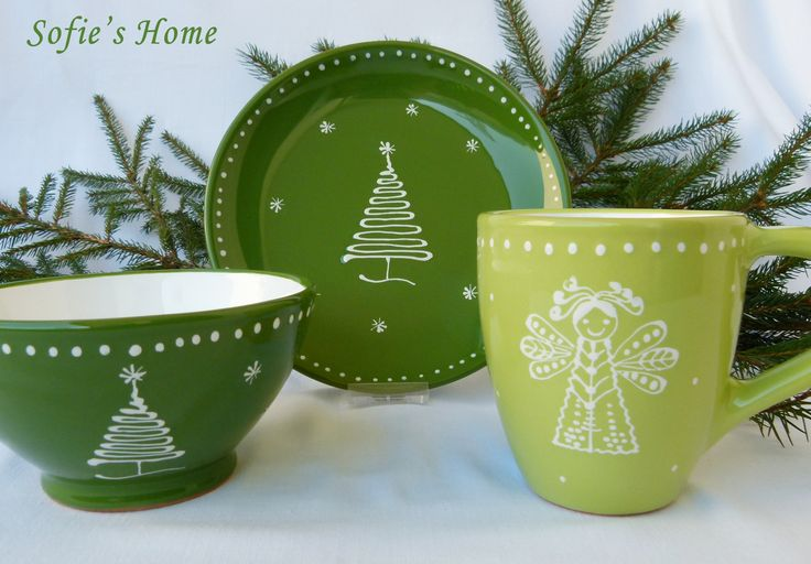 Idea for Christmas table - handpainted ceramic tableware from Sofie's Home http://www.sofieshome.com/
