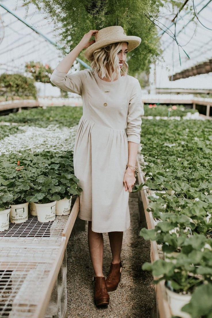 Taupe Pleated Midi Dress | ROOLEE