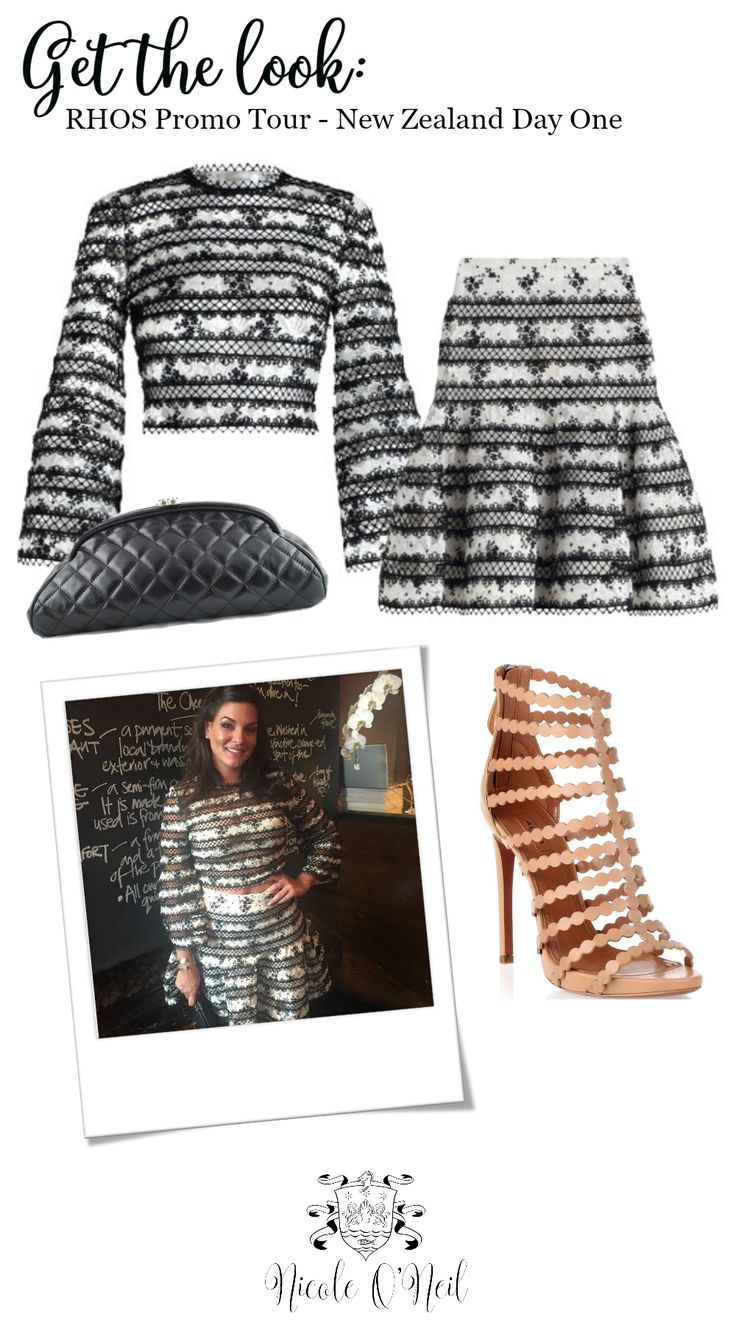 Get the Look. Real Housewives of Sydney star Nicole O'Neil pairs this Zimmermann Master Picot Ensemble (Top and Skirt) with a Chanel Clutch and Nude/Tan Caged Leather Alaia Sandal Heels for an outfit that is guaranteed to turn heads. Click the link find out more.