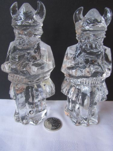 Vintage Swedish Pukeberg Art Glass Pair Large Viking Statues