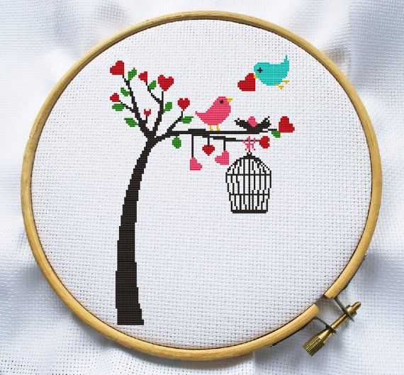 Put table number in the cage? Or just hanging from the branch (replace cage?) Counted cross stitch pattern Instant Download by MagicCrossStitch, $4.00
