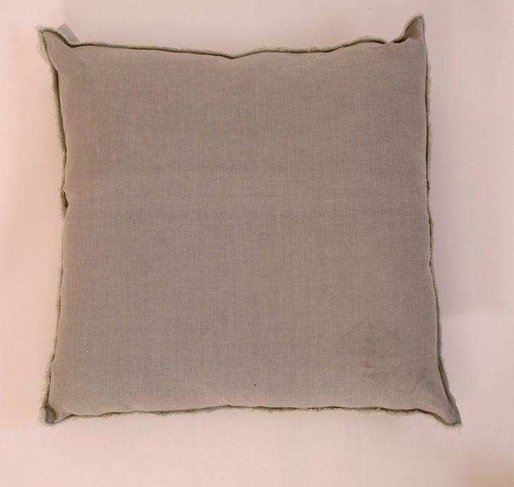 """Gray Fringed Linen Square Pillow Down Insert 20"""" - Harrington Galleries"""
