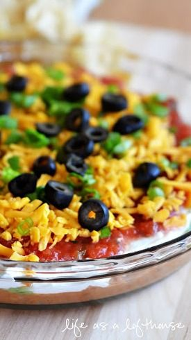 Seven Layer Dip -2 10oz cans of Rotel tom. & grn chilies, drnd -2 bunches of chppd grn onions