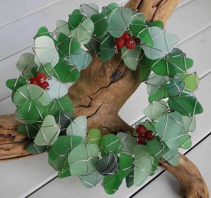 holiday sea glass wreath