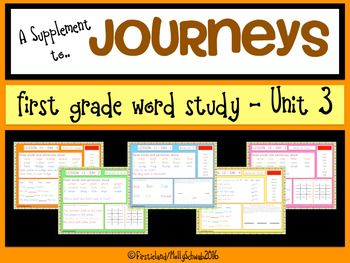This Sight Word, Phonics and Spelling Word Study is a supplement to the Journeys First Grade series. I used to write all of these lessons on my white board every morning in preparation for our whole group word study each day. This not only took up time but space on my board that I needed for other activities.